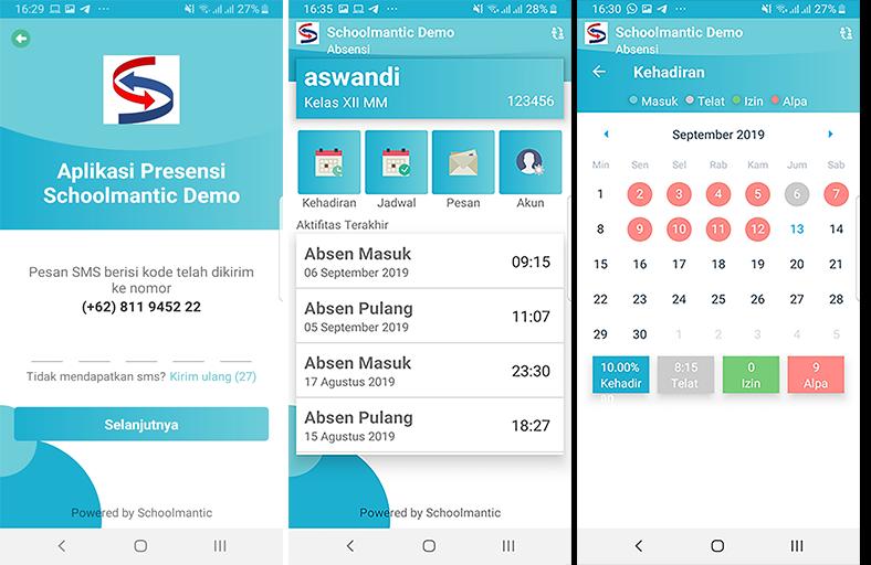 aplikasi android monitoring kehadiran siswa